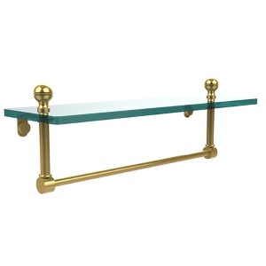 Polished Brass Mambo 16-Inch Glass Shelf with Towel Bar