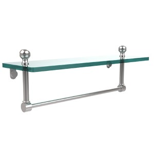Polished Chrome Mambo 16-Inch Glass Shelf with Towel Bar