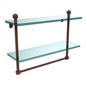 Mambo Collection 16 Inch Two Tiered Glass Shelf with Integrated Towel Bar, Antique Bronze