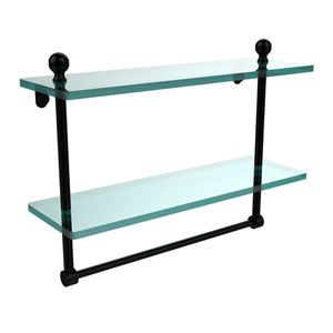 Mambo Collection 16 Inch Two Tiered Glass Shelf with Integrated Towel Bar, Matte Black