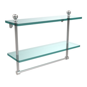 Mambo Collection 16 Inch Two Tiered Glass Shelf with Integrated Towel Bar, Polished Chrome