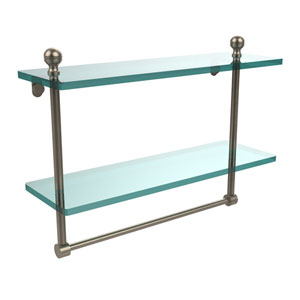 Mambo Collection 16 Inch Two Tiered Glass Shelf with Integrated Towel Bar, Antique Pewter