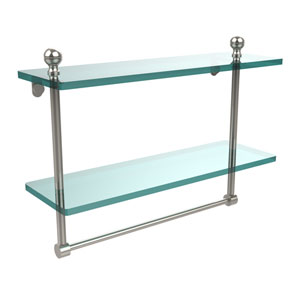 Mambo Collection 16 Inch Two Tiered Glass Shelf with Integrated Towel Bar, Polished Nickel