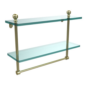 Mambo Collection 16 Inch Two Tiered Glass Shelf with Integrated Towel Bar, Satin Brass