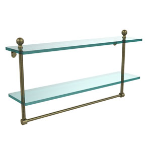 Mambo Collection 22 Inch Two Tiered Glass Shelf with Integrated Towel Bar, Antique Brass