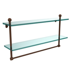 Mambo Collection 22 Inch Two Tiered Glass Shelf with Integrated Towel Bar, Antique Bronze