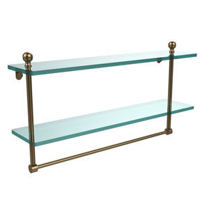 Mambo Collection 22 Inch Two Tiered Glass Shelf with Integrated Towel Bar, Brushed Bronze
