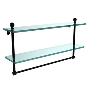 Mambo Collection 22 Inch Two Tiered Glass Shelf with Integrated Towel Bar, Matte Black