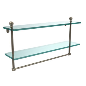 Mambo Collection 22 Inch Two Tiered Glass Shelf with Integrated Towel Bar, Antique Pewter