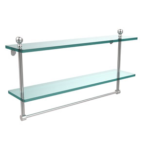 Mambo Collection 22 Inch Two Tiered Glass Shelf with Integrated Towel Bar, Satin Chrome