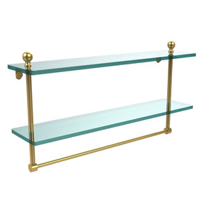 Mambo Collection 22 Inch Two Tiered Glass Shelf with Integrated Towel Bar, Unlacquered Brass