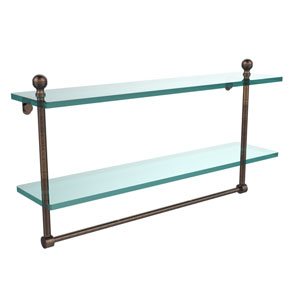 Mambo Collection 22 Inch Two Tiered Glass Shelf with Integrated Towel Bar, Venetian Bronze