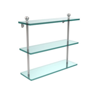 Polished Chrome Mambo 16-Inch Triple Glass Shelf