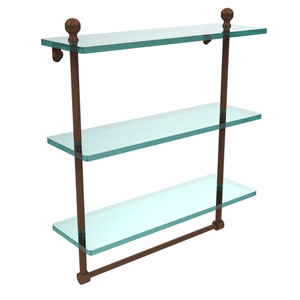 Mambo Collection 16 Inch Triple Tiered Glass Shelf with Integrated Towel Bar, Antique Bronze