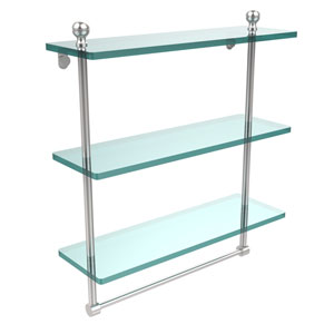 Mambo Collection 16 Inch Triple Tiered Glass Shelf with Integrated Towel Bar, Satin Chrome