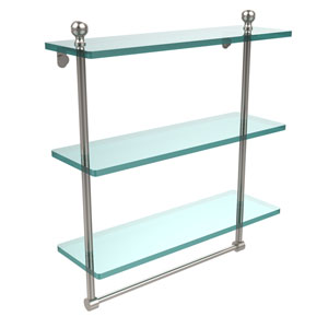 Mambo Collection 16 Inch Triple Tiered Glass Shelf with Integrated Towel Bar, Satin Nickel
