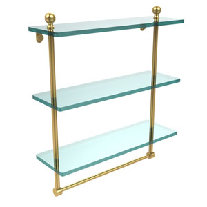 Mambo Collection 16 Inch Triple Tiered Glass Shelf with Integrated Towel Bar, Unlacquered Brass