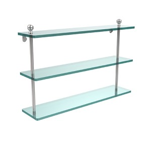 Polished Chrome Mambo 22-Inch Triple Glass Shelf