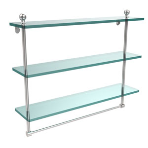 Mambo Collection 22 Inch Triple Tiered Glass Shelf with Integrated Towel Bar, Polished Chrome