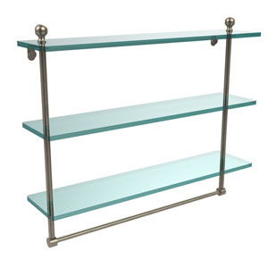 Mambo Collection 22 Inch Triple Tiered Glass Shelf with Integrated Towel Bar, Antique Pewter
