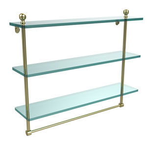 Mambo Collection 22 Inch Triple Tiered Glass Shelf with Integrated Towel Bar, Satin Brass