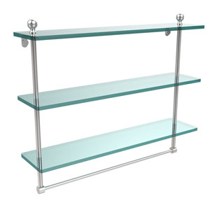 Mambo Collection 22 Inch Triple Tiered Glass Shelf with Integrated Towel Bar, Satin Chrome