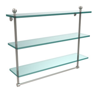 Mambo Collection 22 Inch Triple Tiered Glass Shelf with Integrated Towel Bar, Satin Nickel