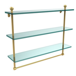 Mambo Collection 22 Inch Triple Tiered Glass Shelf with Integrated Towel Bar, Unlacquered Brass