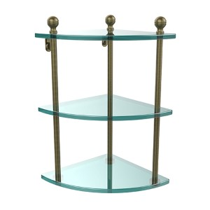Antique Brass Triple Corner Glass Shelf