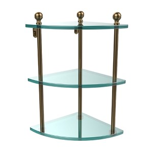 Brushed Bronze Triple Corner Glass Shelf