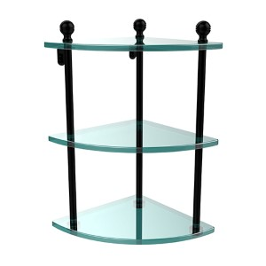 Matte Black Triple Corner Glass Shelf