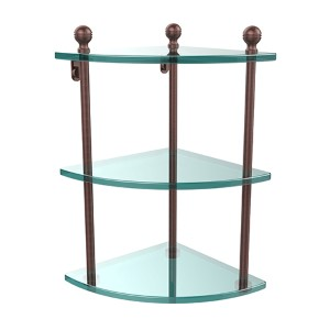 Antique Copper Triple Corner Glass Shelf