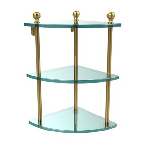 Polished Brass Mambo Collection Triple Corner Glass Shelf