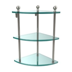 Polished Nickel Triple Corner Glass Shelf