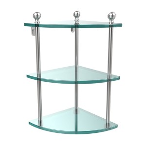Satin Chrome Triple Corner Glass Shelf