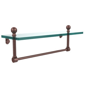 Antique Copper 16 Inch Single Shelf w/ Towel Bar