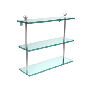 Satin Chrome 16 x 5 Triple Glass Shelf