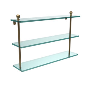 Brushed Bronze 22 Inch Triple Glass Shelf
