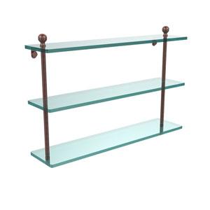 Antique Copper 22 Inch Triple Glass Shelf