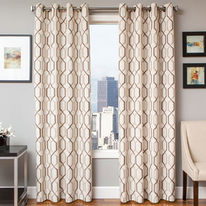 Marina Latte Mocha 96 x 55 In. Geometric Embroidered Linen Panel