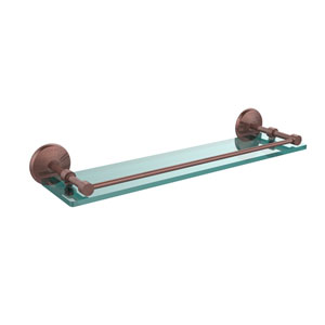 Monte Carlo 22 Inch Tempered Glass Shelf with Gallery Rail, Antique Copper