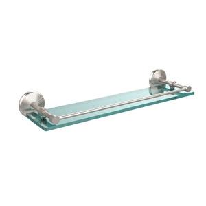 Monte Carlo 22 Inch Tempered Glass Shelf with Gallery Rail, Satin Nickel
