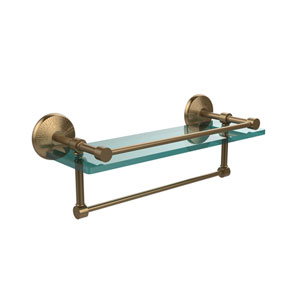 16 Inch Gallery Glass Shelf with Towel Bar, Brushed Bronze