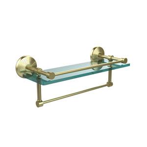 16 Inch Gallery Glass Shelf with Towel Bar, Satin Brass