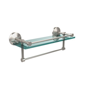 16 Inch Gallery Glass Shelf with Towel Bar, Satin Nickel