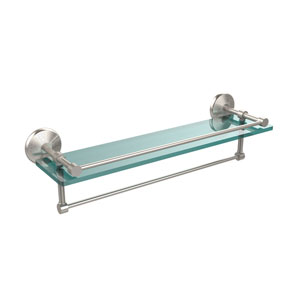 22 Inch Gallery Glass Shelf with Towel Bar, Satin Nickel