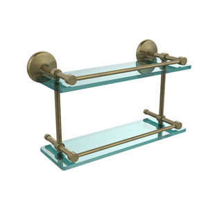 Monte Carlo 16 Inch Double Glass Shelf with Gallery Rail, Antique Brass