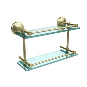 Monte Carlo 16 Inch Double Glass Shelf with Gallery Rail, Satin Brass