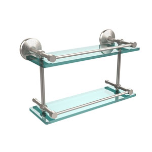 Monte Carlo 16 Inch Double Glass Shelf with Gallery Rail, Satin Nickel