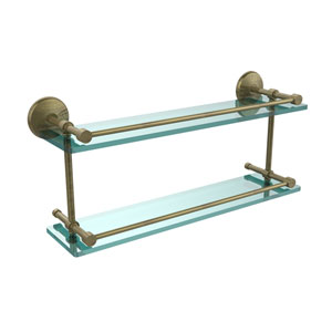 Monte Carlo 22 Inch Double Glass Shelf with Gallery Rail, Antique Brass